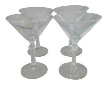 Vintage Set of 4 Art Deco Style, Midcentury Martini  Glasses