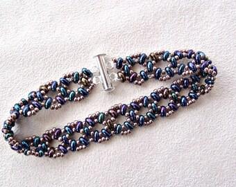 handmade twin bead bead woven bracelet