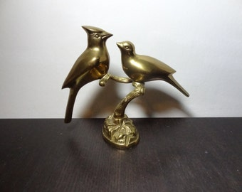 Vintage Leonard Silver MFG. Co. Solid Brass Cardinal Figurine - Two Brass Birds/Cardinals Perched on a Branch - Mid Century Modern