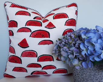 Watermelon cushion with striped piping and white back 45cm x 45cm