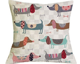 Colorful Dachshund Repeat Pattern - Pillow Cover