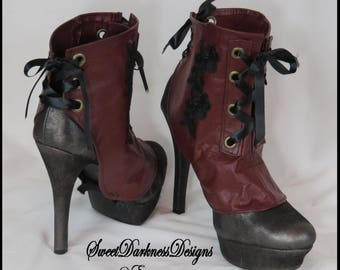 Steampunk Leather Spats Gothic Spats Victorian Spats Burgundy Corset Laceup MADE TO ORDER Shoecover Vintage Spats by SweetDarknessDesigns