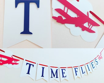 Time flies banner, time flies birthday party, airplane decorations, time flies first birthday, airplane birthday