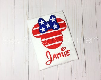 Flag minnie mouse head, We are going to Disney World tee shirt, red, white, and blue Disney vacation shirt, patriotic mickey, 4th of july.