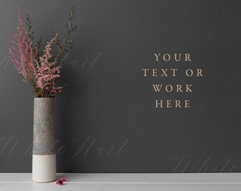 Styled stock photography - Floral styled wall mock up - High Res Jpeg - for texts, headers, blogs, social media, mock ups, lettering, fonts