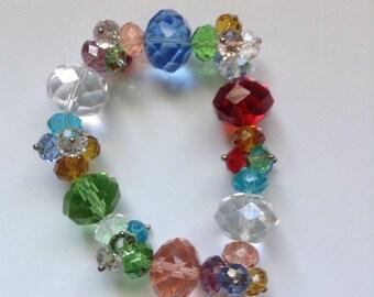 Vintage rainbow crystal stretch bracelet