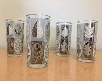 Four+ Turquoise, White & Silver Leaf 12 oz High Ball Glasses / Tumblers with Silver Rims by Libbey