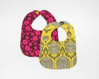 Cotton Baby bib set, Magenta floral, Chartruese floral