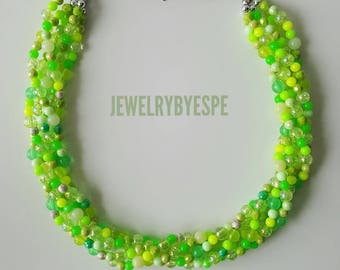 Apple Green Necklace Statement Necklace Chunky Multi Strand Necklace Green Wedding Jewelry Statement Jewelry Mint Green Necklace Lime Green