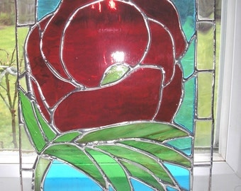 stained glass flower panel, stained glass flower picture, stained glass poppy, stained glass rose, glass art, Made to order, UK artist,art,