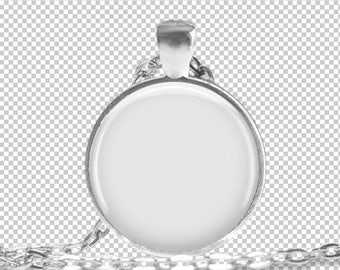 Digital Photo Template Mockup Silver Round Pendant 1 inch Setting with Rolo Chain on transparent background. Add your own background. 1570