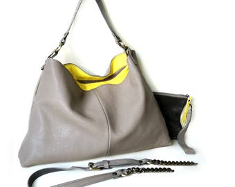 Leather Hobo Bag in gray and yellow. 20% off sale. Soft leather Hobo Bag. Gray Leather Shoulder Bag. Cross body hobo bag made in Italy.