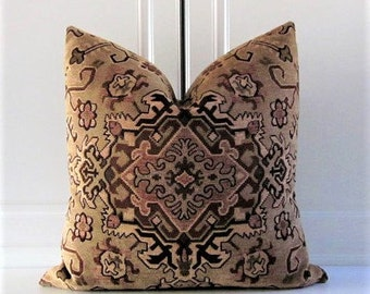 Clarence House Decorative Pillow Cover-Persian Chenille Tapestry-Khaki Green-18x18, 20x20, 22x22