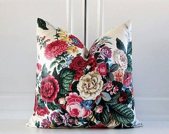 Brunschwig & Fils Decorative pillow Cover-English Chintz-Red Cottage Roses-18x18,20x20