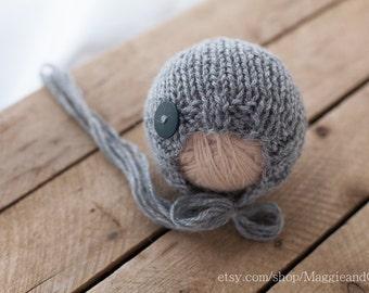 Newborn Bonnet, Classic Bonnet, Newborn Button Bonnet, Newborn Knit Hat, Alpaca Hat, Photo Prop, Newborn Hat, Newborn, Knit Hat