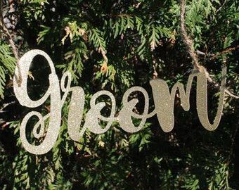 Wedding - Gold / Silver Glitter Groom Chair Decor  - Wedding Decorations - Rustic Wedding