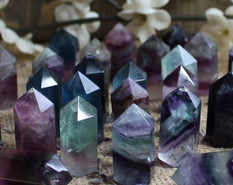 Mini Fluorite Tower Crystal Fluorite Crystal Polished Stone Healing Crystals and Stones Polished Fluorite Crystal Grid Stone Bohemian Decor