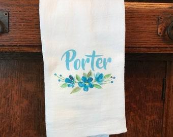 Family Name Watercolor Tea Towel