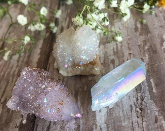 RESERVED FOR LISA-Amethyst Aura Quartz Point-Aura Spirit Quartz- Amethyst Aura Quartz -Opal Aura Cluster-Set of Three Spirit Quartz