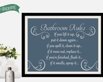 bathroom artwork. Bathroom wall art and decor  rules sign brown bathroom artwork Etsy