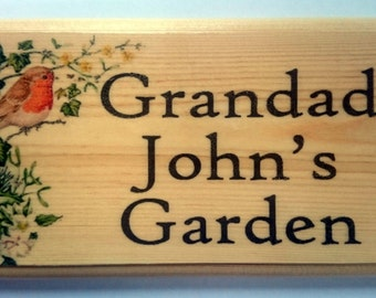 Personalised Robin In Bush Plaque / Sign / Gift - Grandad Garden Name Shed