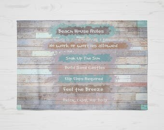 Beach House, Beach Rules Rug , Faux Wood