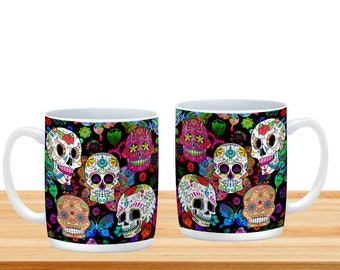 Rocking Color  Sugar Skull  Mugs Cups, Day Of The Dead
