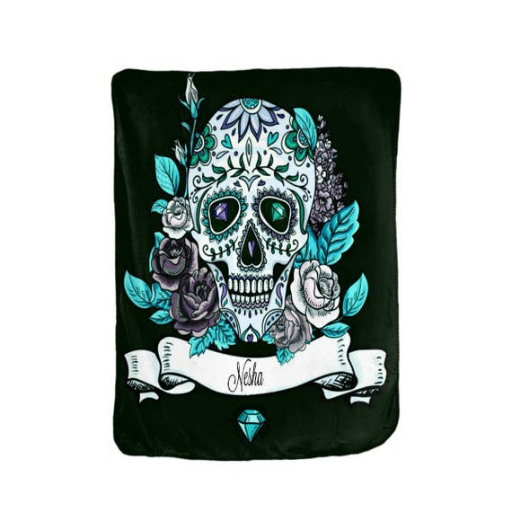 Sugar Skull Blanket Personalized