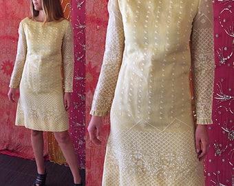 Sale Tina Leser Dress India Dress India Silk Dress Wedding Dress Vintage 60s India Embroidered Mod Dress