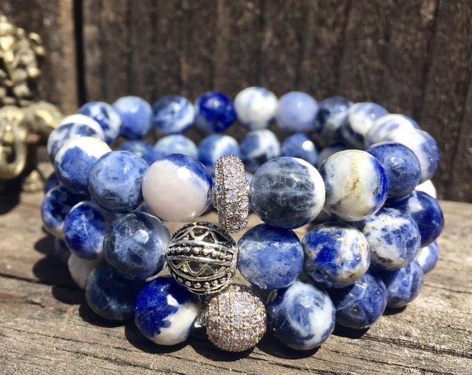 Sodalite Bracelet- Blue Bead Bracelet- 10mm Sodalite- Throat Chakra- Communication- Girlfriend Gift- Sodalite Jewelry- Intention Bracelet