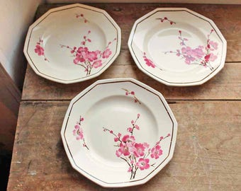 Antique plate set of 3 by St Amand with  motif cherry blossom, French Vintage Plates