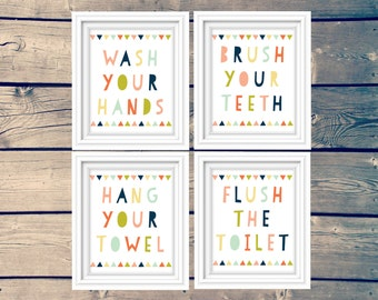 SET OF 4 kid's bathroom prints, flush the toilet, wash your hands, hang your towel, brush your teeth bathroom printable, children's wall art