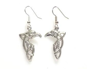 Eagle earrings, earrings, eagle charm earrings, celtic eagle earrings, celtic earrings, silver dangle earrings, pewter earrings