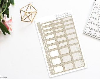 Tan Wood with Gold | Half boxes & Labels | Printable Planner Stickers | Happy Planner