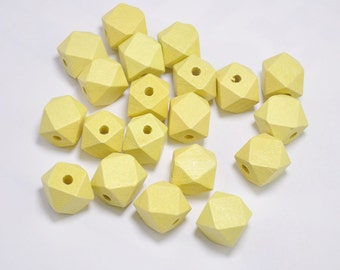 20pcs Yellow Geometric Wood Beads,Hand Painted wood Beads 15mm,Polygonal,DIY Geometric necklace/ keyring,Make jewellery for selling