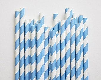 Big 80ct Pack Pastel Blue Stripe Paper Drinking Straws - Disposable Party - Celebration & Cake Pop Straws