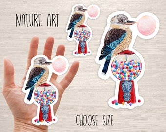 Kookaburra bird and red Gumball machine vinyl stickers, bird cool stickers, skateboard stickers laptop iphone cute animal nature decal
