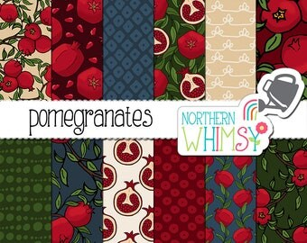 "Fall Digital Paper - ""Pomegranates"" - hand drawn pomegranate fruit and branch seamless patterns in red, green, and blue - commercial use OK"