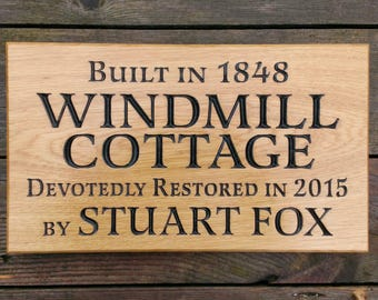 Solid Oak Engraved Hardwood House Name Plate 380mm x 220mm With Optional Image, Personalised Carved Home Sign Plaque