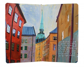 "Fine Art Print of Swedish Cityscape Painting from Artist Travel Journal – ""Lunch in Gamla Stan, Stockholm"""