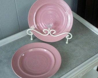 Pink Plates, Carnivale Plates, Stoneware Plates, Pink Salad Plates, Vintage Pink Plates, Pink Dessert Plates, Pink Salad Plate Set