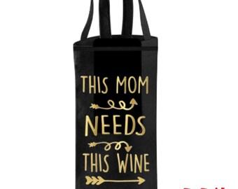 Mom's Wine Bottle Bag, Gift For Mom Mum, Personalized Wine Gift, Wine Bag, Custom Wine Bag, Mother Gift, Wine Lover Gift For Her,