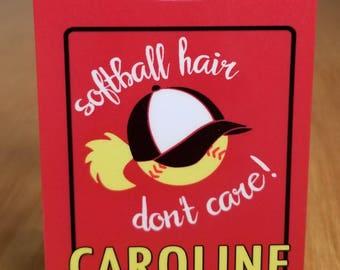 Softball Bag Tag, Sport Bag Tag, Softball prayer, Party favor, Softball gift, Softball swag softball hair don't care