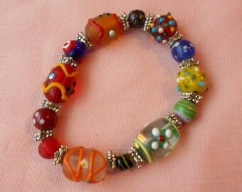Vintage Lampwork Glass Beaded Stretch Bracelet Knobby Venetian Orange Red Blue Yellow Silver Tone Spacer Beads