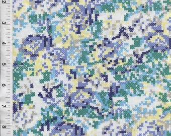 "Riley Blake Shannon Lamden ""Hipster"" Cross Stitch Blue Fabric"