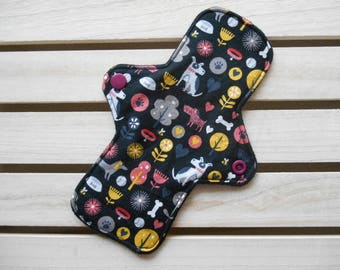 Reusable Slim Fit Panty Liner Dog Print Cotton Bamboo Fleece Cloth Sanitary Pad
