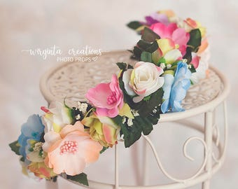 Flower tie back/crown. Can be used from 6 months old (can fit an adult as well).Colourful.Photo prop. Ready to send