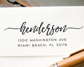 Return Address Stamp, Modern Brush Lettering Self Inking Address Stamp, Address Stamp, Wedding Address Stamp, Custom Address Stamp