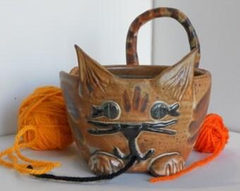 Tabby Cat Yarn Bowl for Knitting or Crocheting