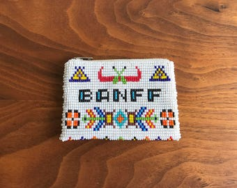 Vintage Banff Souvenir Beaded Change Purse